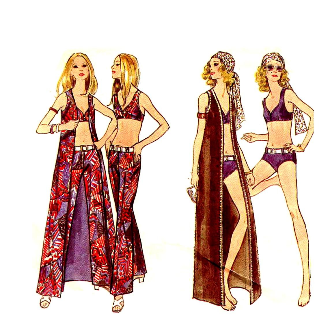 So Mod 60s Bikini and Maxi Vest Cover Up Butterick 5789 Vintage Pattern Bust 38