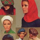 Dramatic Mod 60s Beret, Beanie, Hood and Ascot Vintage Simplicity Hats Pattern 7872 1960s