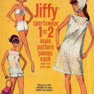Sassy Mod 60s Jiffy High Waist Swimsuit, Beach Dress and Scarf Vintage Simplicity 6020 Bust 38