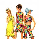Sassy Mod 60s Drawstring Jellies, Crop Top and Beach Dress Simplicity 6572 Vintage Pattern Bust 30.5