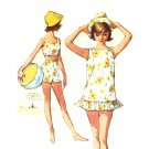 Sassy Mod 60s Swimsuit, Funnel Hat, Cover Up Vintage Simplicity 4494 Size Subteen 10, Bust 29