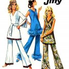 Sassy Mod 60s Jiffy A Line Mini Split Sleeve Dress and Pants Vintage Simplicity 8234 Bust 36