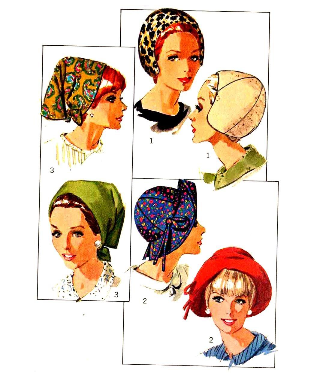 Mod Couture 66 Hat Pattern--Helmet, Scarf, Brimmed--Simplicity 6769 UNCUT 1960s
