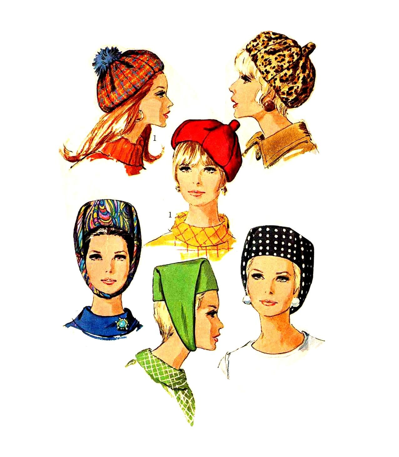 Sassy Mod '67 Hats Pattern--Beret and Fez with Strap--Vintage Simplicity 7326 1960s