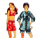Sassy Mod 70s Hip Huggers, Cover Up and Bra Top Simplicity 8796 Vintage Pattern Bust 34