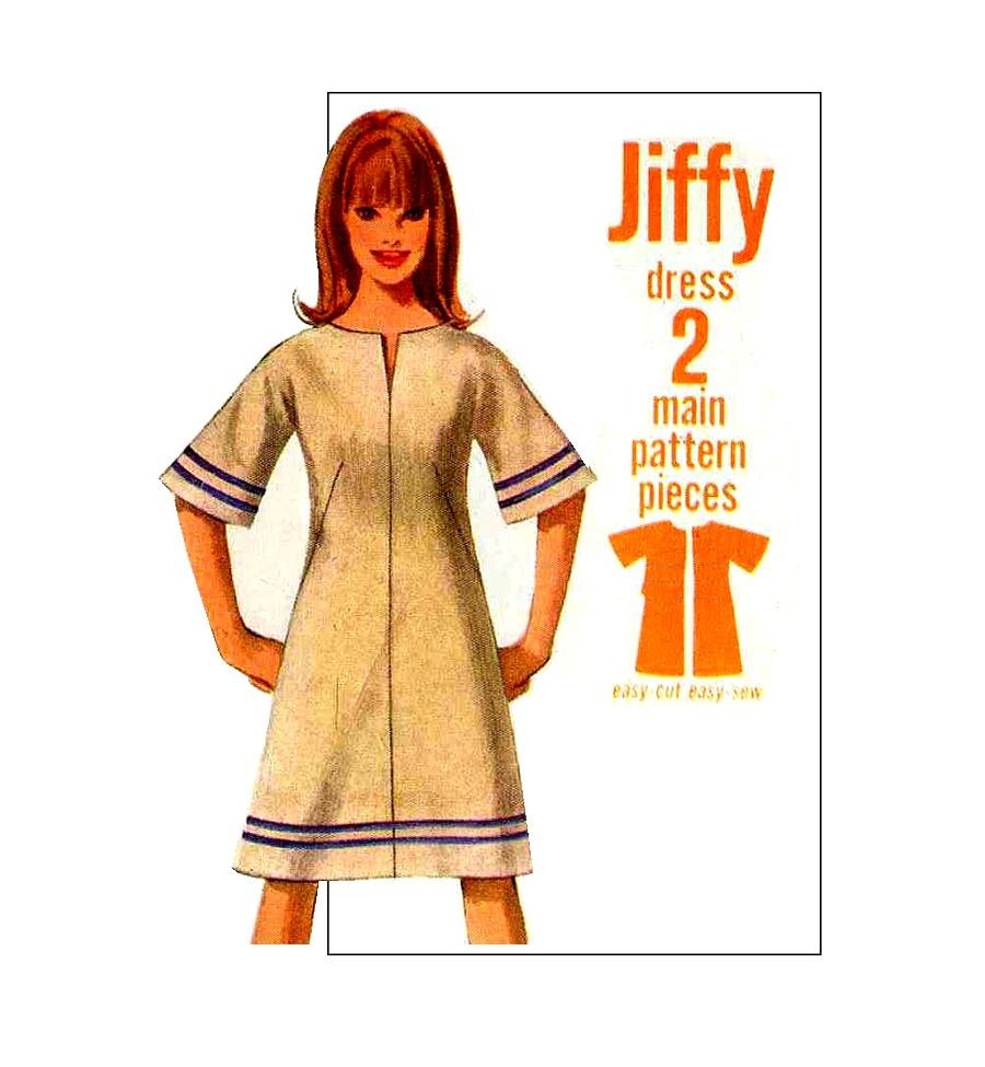 Sassy Mod �66 Jiffy A Line Bell Sleeve Dress�Bust 34�Simplicity 6628 1960�s