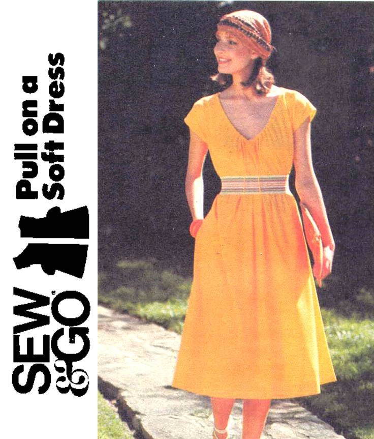 Easy 70's Butterick 4871 Fit and Flare Dress Vintage Sewing Pattern Petite