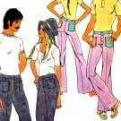 Mod 70s Hip Hugger Bell Bottom Pants Womens Simplicity 9483 Vintage Sewing Pattern Waist 27