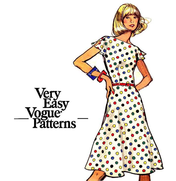 70s Easy Vogue Flared Dress Vintage Sewing Pattern Vogue 8506 Bust 32.5