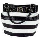 Gigi Chantal™ Black and White Stripe Bucket Style Handbag