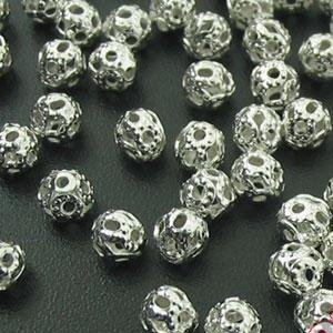 100 Silver Plated Filigree 4mm Spacer Beads