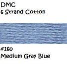 DMC 6 Strnd Cotton Embroidery Floss Md Gray Blue 160