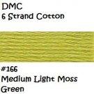 DMC 6 Strnd Cotton Embroidery Floss Medium Light Moss Green 166