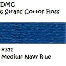 DMC 6 Strnd Cotton Embroidery Floss Medium Navy Blue 311