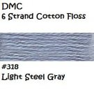 DMC 6 Strnd Cotton Embroidery Floss Light Steel Gray 318