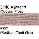 DMC 6 Strnd Cotton Embroidery Floss Md Shell Gray 452