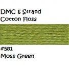 DMC 6 Strnd Cotton Embroidery Floss Moss Green 581