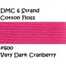 DMC 6 Strnd Cotton Embroidery Floss Very Dk Cranberry 600
