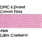 DMC 6 Strnd Cotton Embroidery Floss Light Cranberry 604