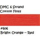 DMC 6 Strnd Cotton Embroidery Floss Bright Orange ~ Red 606