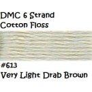 DMC 6 Strnd Cotton Embroidery Floss Vry Lt Drab Brown 613
