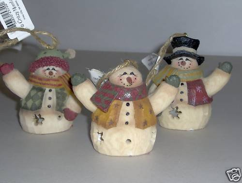 Crazy Mountain Anderson 3 Resin Snowman Ornaments NEW A