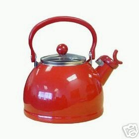 Retro RED Whistling Teakettle NEW 2.5 Enamel Steel