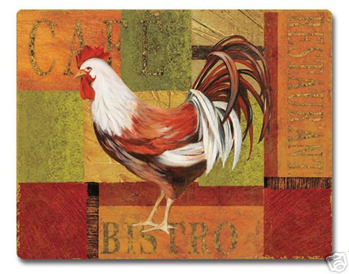 """Gourmet Rooster Cutting Board NEW Temper Glass 12""""x15"""""""