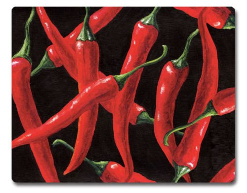 Red Hot Chilies Tempered Glass Cutting Board NEW Glass