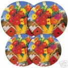Birdhouses Flower Tin Stovetop Burner Covers 4 NEW