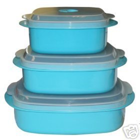 Reston Calypso Microwave Set Steamer Bowls NEW TURQ.
