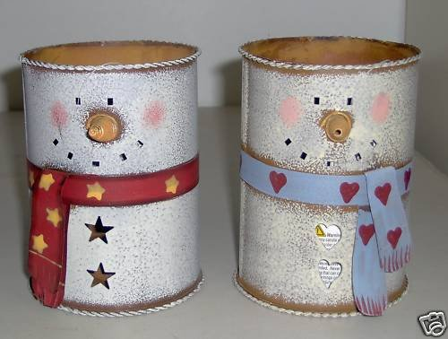 Snowman Tin Can Votive Candle Holders Set of 2 NEW
