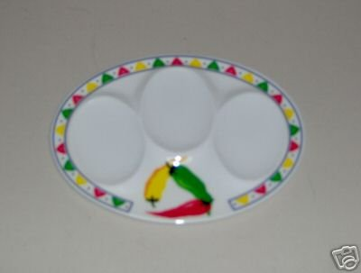 Chili Peppers Spoon Rest Melamine 3 Sect. NEW