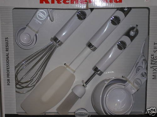 Kitchenaid White 5 Piece Mixing Set NEW KM424WH