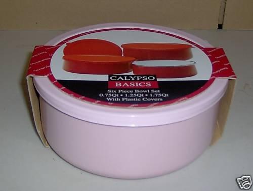 Reston Retro Pink Storage/Bake Bowl Set 6 Pc NEW Enamel
