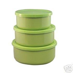 Reston Lime Green Storage/Bake Bowl Set 6 Pc NEW Enamel