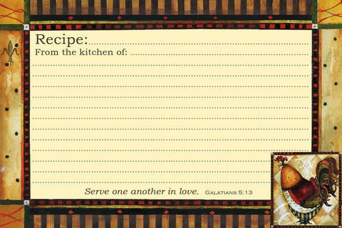 """Rooster Grande Recipe Cards 36 6""""x4"""" NEW Scripture"""