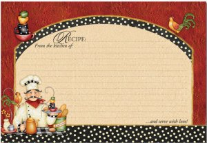 """Chef Recipe Cards Pack of 36 6""""x4"""" NEW Serve with love!"""