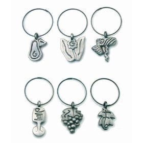 Wine Charms Pewter MSC International Set of 6 NEW