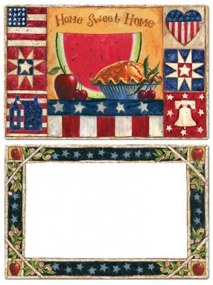 Home Sweet Home Flags Americana Apples Placemats 6 NEW