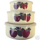 Ingleman AppleJack 6 Pc Bowl Set NEW Enamel Apples