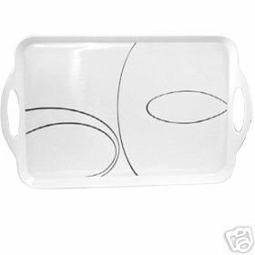 Corelle Simple Lines Serving Tray NEW Melamine Rectang.