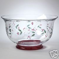 Pfaltzgraff Winterberry Etched Glass Serve Bowl NEW