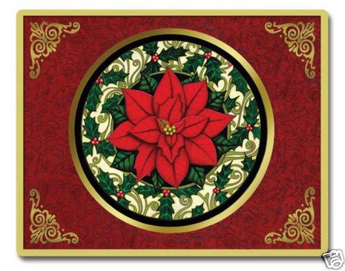 "Poinsettia Tempered Cutting Board NEW Glass 12"" x 15"""