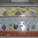 Wine Charms Fruit/Flowers MSC Int'l Set of 6 NEW