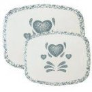 Corelle Blue Hearts Stove Mats Set of 2 NEW Counter