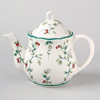 Pfaltzgraff Winterberry Sculpted Teapot 4 Cup NEW Stone