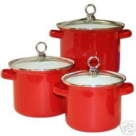 Bright RED Stock Pot Set 6 Piece NEW Enamel on Steel