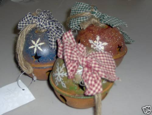 Dennis East Ball Bell Ornaments Country Set of 3 NEW