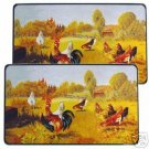 Rooster Barnyard Rect. Burner Covers 2 NEW Chickens